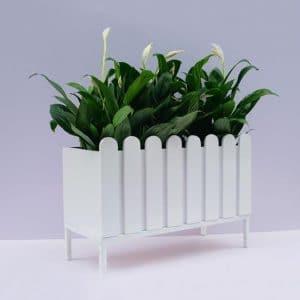 Chậu hàng rào trắng composite trang trí ban công [Tặng chân gác]