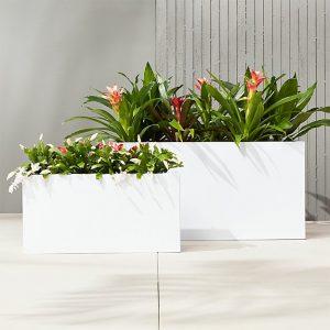 Chậu gỗ nhựa composite trắng basic